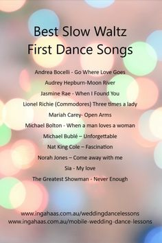 Wedding Slow Dance Songs, Dance Floor Wedding, Wedding Playlist, First Dance Songs, Wedding Music, Good Playlists, Private Dance Lessons, Father Daughter Dance Songs, True Love Waits