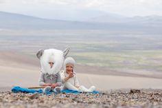 Extraordinary fluffy baby Alpaca headgear for kids fashion by Waddler for winter 2013