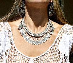 Gypsy Love Affair Antalya Silver Coin Choker Necklace by MadeByMiKiShop on Etsy
