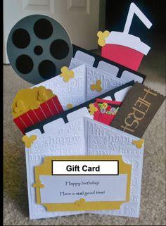 Handmade Movies cascade card. Cuttlebug birthday.