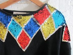 Vintage black sweater top with sequins / by dirtybirdiesvintage, $24.00