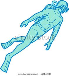 Mono line style illustration of a scuba diver diving swimming viewed from the side set on isolated white background.  #scubadiver #monoline #illustration