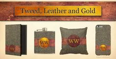 Vintage Harris Tweed, stitched leather and gold monogram gifts from #PatternStore http://www.zazzle.com/patternstore/gifts?ps=90&cg=196179544310827282&pg=1&sd=desc&st=date_created&rf=238175107415881712&tc=ss