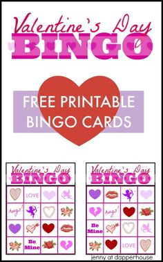 Free Printable BINGO cards for Kids from jenny at dapperhouse Valentine Bingo, Printable Valentine, Valentine Treats, Valentines Day Decorations, Valentine Day Crafts, Free Printable Bingo Cards, Free Printables, Love Hug, Party Stuff
