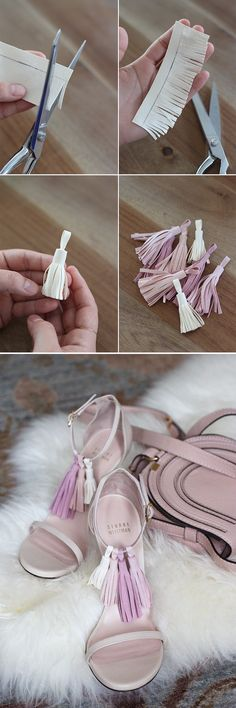 【ρinterest: LizSanez✫☽】// Adorn strappy sandals with interchangeable tassels. DIY Tassel Sandals.