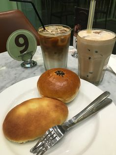 Bubble  green tea   Cafe Latte   Banana Cake  Red Bean by tous les jour