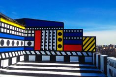 Mural by Camille Walala (in London?) - great bold, bright colors and geometric designs