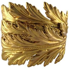 "1980s Dominique Aurientis Gold Tone ""Leaf"" Cuff Bracelet 
