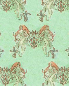 Celtic Girl Textile by temiel