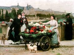 Marie Francois Firmin-Girard (French, 1838-1921) - A flower seller on the Pont Royal with the Louvre beyond, Paris.