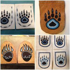 My bear paw collection lol glove tops and slipper tops. I'm glad to be done with this order. Native Beading Patterns, Beadwork Designs, Native Beadwork, Native American Beadwork, Loom Patterns, Beaded Moccasins, Baby Moccasins, Native American Crafts, Nativity Crafts