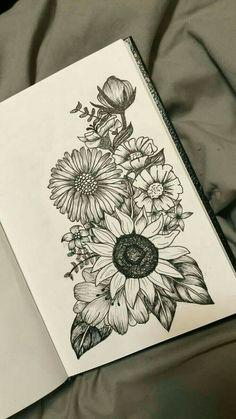 Passion flower over sunflower and poppy on the right side .- Passionsblume über Sonnenblume und Mohn auf der rechten Seite mit Lavendel Passion flower over sunflower and poppy on the right with lavender - Skull Tattoos, Cute Tattoos, Body Art Tattoos, Tatoos, Leg Tattoos, Easy Tattoos, Side Thigh Tattoos, Floral Thigh Tattoos, Tattoo Floral