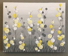 16x20 Yellow and Gray Wall Art Whimsical by MurrayDesignShop