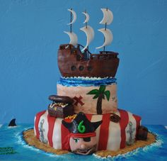 Pirate Pirate Birthday, Pirate Party, Pirate Theme, 7th Birthday, Birthday Ideas, Birthday Cake, Pirate Food, Crazy Cakes, Occasion Cakes