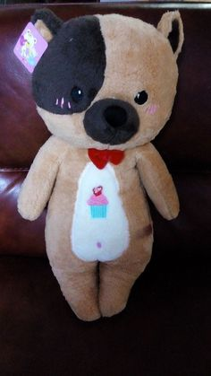 25 Inches Hot Stuffed Plush One Black Eye Brown Bear Soft Toy With Black Tail #Handmade