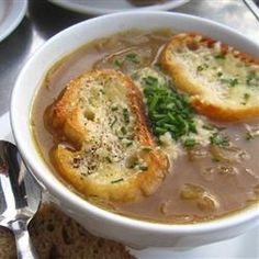 Slow Cooker French Onion Soup by allrecipes: When it's been simmering all day, you come home to an amazing aroma and a fabulous meal. #Soup #French_Onion #Slow_Cooker