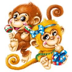 """Photo from album """"Новогодние обезьянки"""" on Yandex. Monkey Drawing, Monkey Art, Cute Monkey, Adult Coloring, Coloring Books, Baby Room Pictures, Monkey Tattoos, Cartoon Monkey, New Year Pictures"""