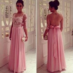 Illusion Blackless Prom Dress With Sleeves pst0567