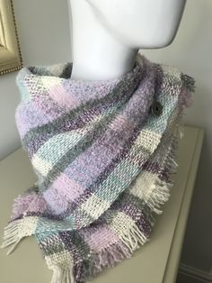 Using various yarns including Perran Yarns alpaca boucle laceweight in shade Moonscape. Boucle Yarn, Pastel Shades, Square Scarf, Plaid Scarf, Hand Weaving, Projects, How To Make, Etsy, Fashion