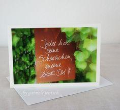 """Grüße - SeptemberWald Karte Geburtstag Glückwunsch """"Blatt"""" - ein Designerstück von Gabriele-Jentsch bei DaWanda"""