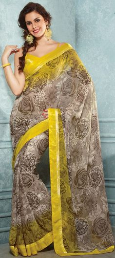 126642: PAINT THE ROSES ON YOUR 6 YARDS Shop saree with #Rose prints.