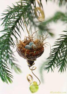 acorn bird nest from woodlandfairygardens on etsy