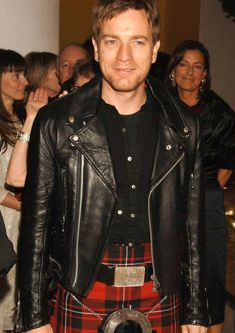 Lewis Leathers - Ewan. I like the motorcycle jacket with the kilt... gives the sort of outfit a casual flair... although I'd think it was a bit of a windy ride...