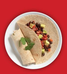 Avocado and black bean wraps: 1 cup canned black beans, rinsed and drained ½ teaspoon cumin 4 tablespoons salsa 4 whole-grain tortillas ½ avocado, chopped Directions: Mix black beans, cumin and salsa. Fill tortillas with bean mixture and chopped avocado. Serve.