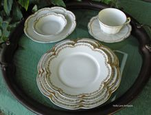 A Special Dinner - A Wedding Gift - Just Because You Love Antique Haviland - Antique Haviland Limoges China 7 Piece Place Setting Schleiger 874