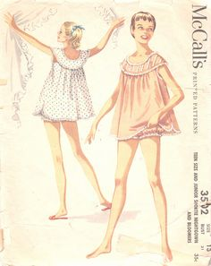 Vintage 1950s Juniors Shortie Nightgown and Bloomers Size 13 McCalls 3502 UNCUT Sewing Pattern 50s Nightie PJ's by Patternpalooza, via Flickr
