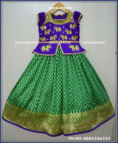 ddab2936 Elephant hand Embroidery designs for kids lehenga by Angalakruthi boutique  Bangalore Watsapp 8884347333