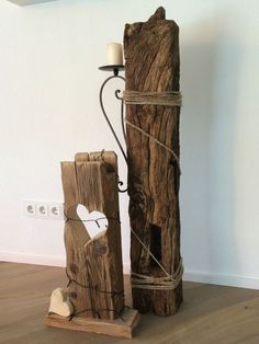 Wood Art Oak beams with cord and candlestick similar great projects and ideas as … Reclaimed Wood Projects, Driftwood Crafts, Into The Woods, Home And Deco, Old Wood, Barn Wood, Candlesticks, Rustic Decor, Beams