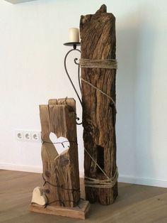 Eichenbalken mit Kordel und Kerzenhalter ähnliche tolle Projekte und Ideen wie…