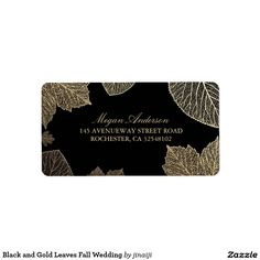Black and Gold Leaves Fall Wedding Label Black and fall gold leaves wedding address labels