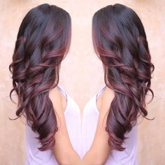 Ideas For Hair Color Burgundy Balayage Red Ombre Burgundy Balayage, Burgundy Highlights, Red Ombre, Red Balayage Hair Burgundy, Red Balayage Highlights, Ombre Color, Color Borgoña, Balayage Color, Red Bayalage