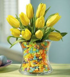 Easter Flowers with jelly beans.