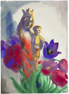 emil nolde, madonna and tulips