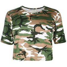 Plus Libby Camo Print Crop Tee (€2,38) ❤ liked on Polyvore featuring tops, t-shirts, shirts, crop top, crop, short sleeved, camo t shirt, short sleeve shirts, crop tee and camo crop top