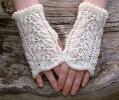 White knit lace wrist warmers. Fingerless wool gloves. Elegant wristlets for women - pinned by pin4etsy.com