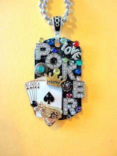 Poker Princess Dog Tag Pendant Number 646 by BradosBling on Etsy, $29.99