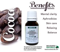 Cocoa essential oil is a well-known aphrodisiac, and it helps create a feeling of well-being, contentment, and clarity. It relaxes the muscles and helps to balance the body and the mind while softening and improving the elasticity of the skin. Also antibacterial. Deep and earthy, with fine smoky notes of sweet dark chocolate. Great for those looking for a chocolate fix!  #aromatherapy