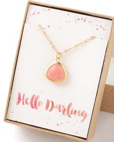 Hola querida collar rosa regalo joyería de Dama de honor regalo joyería ópalo rosa collar nupcial accesorios regalo boda regalo Limonbijoux