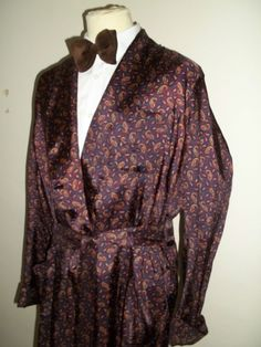 Vtg Mens 1960s Tricel Paisley Smoking Jacket Dressing Gown Robe Large £25.00