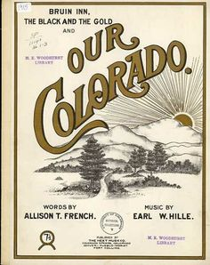 not sure if this is the best board, but this seems like it could work with Beauty. Sheet Music - Our Colorado Love Colorado.have been a few times. Signwriting, Types Of Lettering, Vintage Sheet Music, Vintage Type, Music Covers, Travel And Tourism, Advertising Design, Colorado Springs, Branding Design