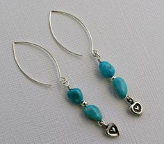 Artisan turquoise and silver heart charm drop by FantabulousJewelz, $29.00