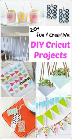 Fun and creative DIY Cricut projects. Cricut projects ranging from stencils, personalized vinyl, DIY planters, intricate earrings, luggage tags and more