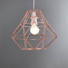 Bremen Geometric Copper Easy Fit Pendant | Dunelm