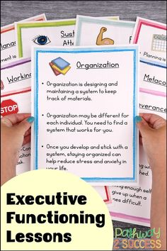 Engaging executive functioning lessons for kids and teens! Teachers, counselors, and even parents can use these activities to teach about self-control, flexibility, attention, perseverance, organization, time management, and more. This set comes with workbook pages, posters, and an educator guide to help provide support to elementary and middle school teachers looking to support their students. Social Work, Social Skills, Adhd Strategies, Writing Goals, Executive Functioning, Middle School Teachers, Student Success, Study Skills, Social Emotional Learning