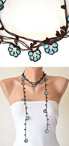 Turquoise Flowers Brown Crochet Oya Necklace Wrap by ReddApple