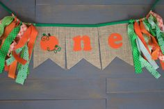 First Birthday One Pumpkin Burlap Bunting Banner Sign Orange with Green Trim, for Harvest Pumpkin Patch Theme First Birthday Party Highchair Decoration, or Photo Prop  by MsRogersNeighborhood Etsy shop